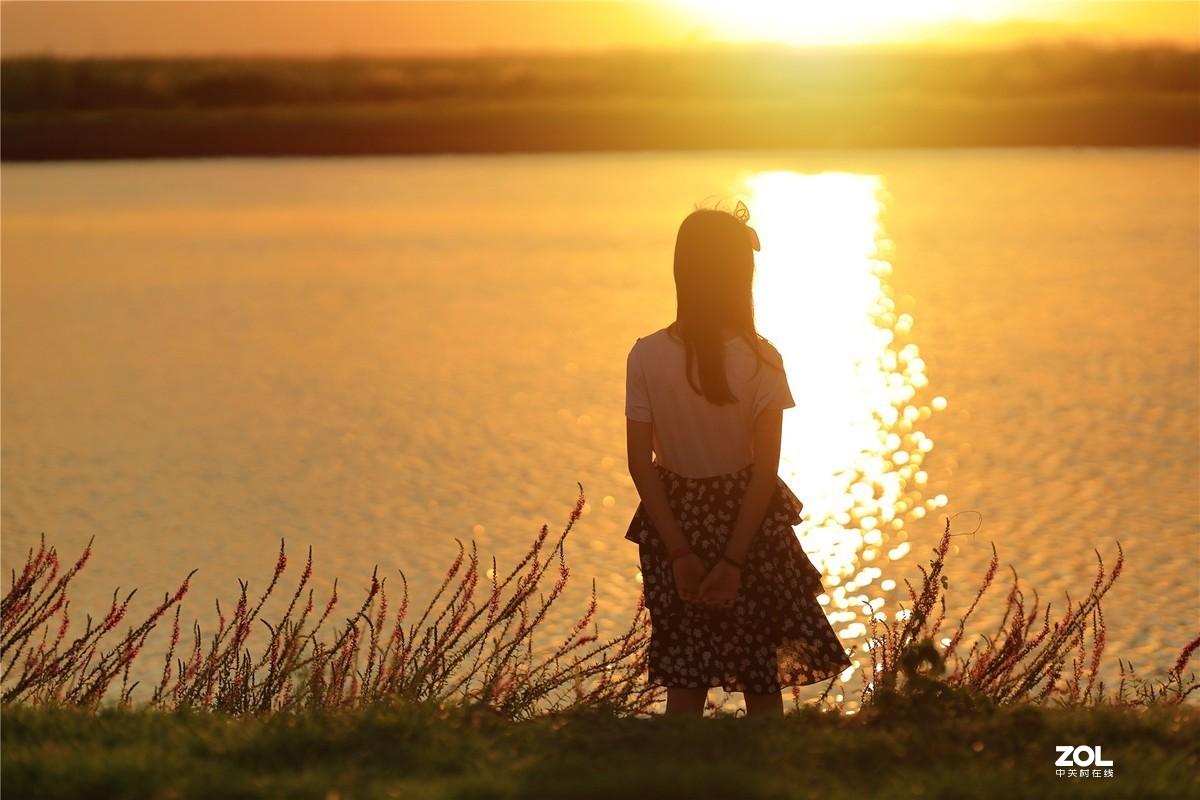 夕阳鲜花里的萝莉