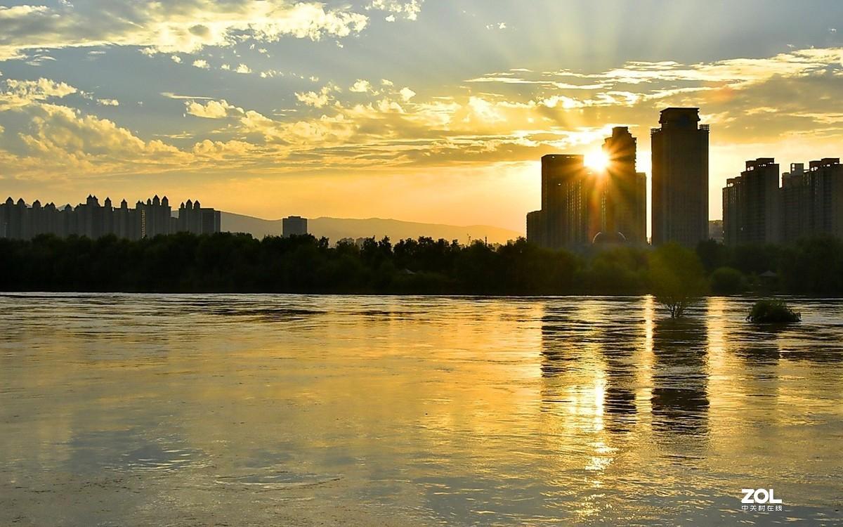 夕阳黄河楼